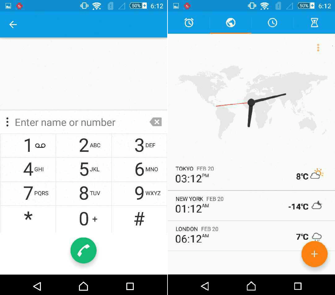 Xperia Z4 Dual Android 5.0.2 Lollipop Clock and Dialer app screenshots