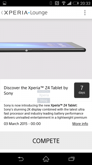 Xperia Z4 Tablet with 2K screen Leak