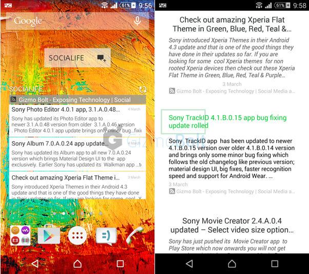 Download Sony Socialife News app