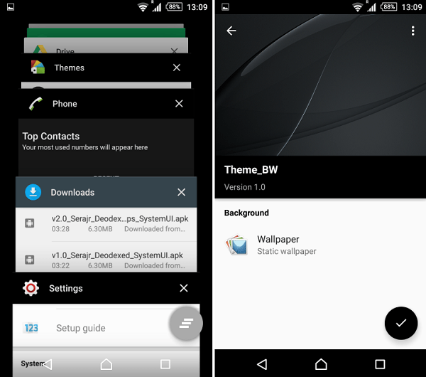 Download Xperia Lollipop Black & White Theme