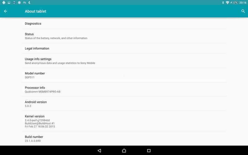 Xperia Z2 Tablet 23.1.A.0.690 firmware