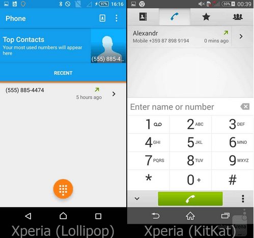 Xperia Lollipop Phone App UI