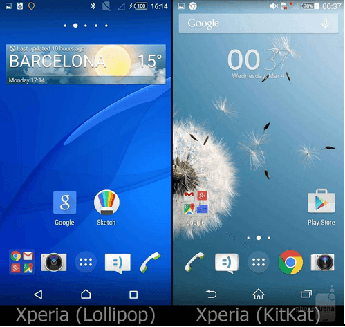 Xperia Lollipop UI Homescreen