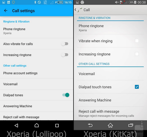 Xperia Lollipop Call Settings UI