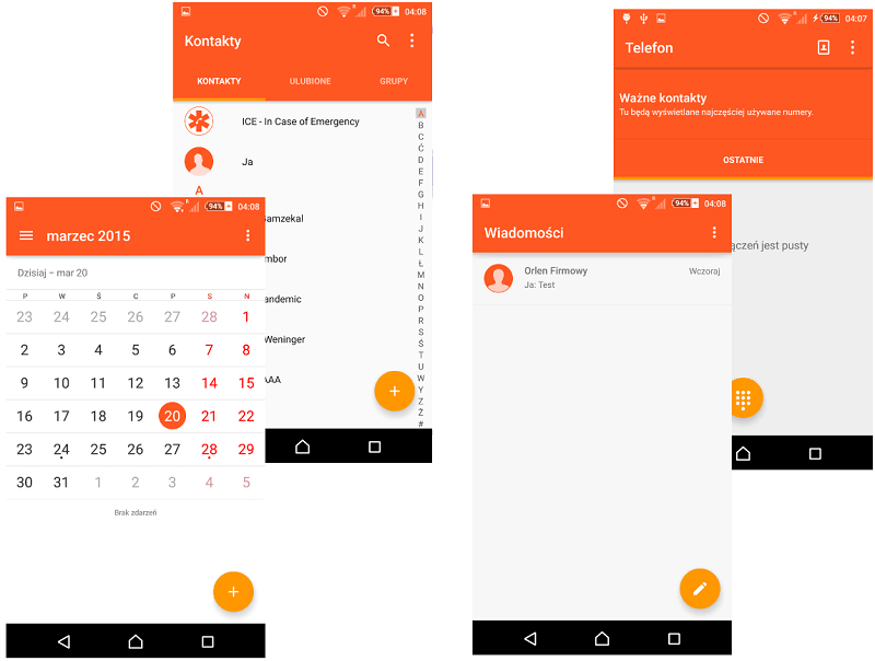 Orange Material Design Xperia Themes