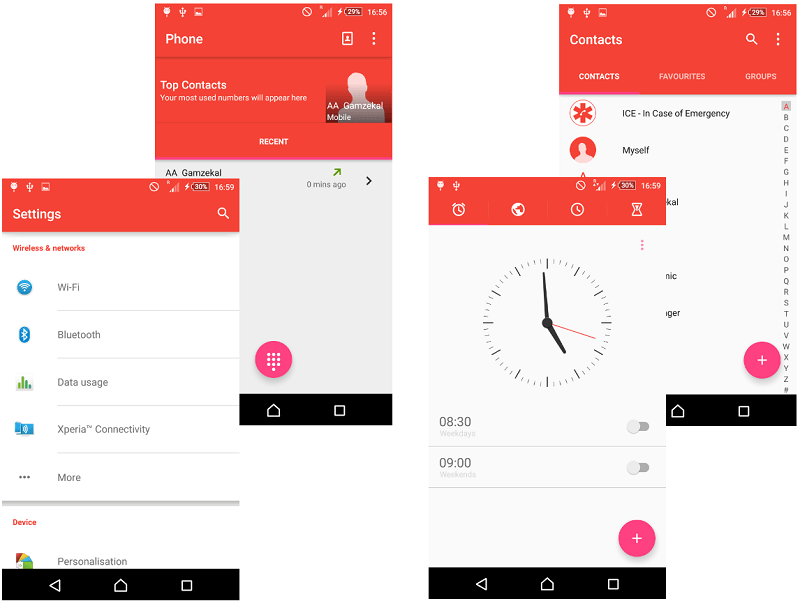 Red Material Design Xperia Themes