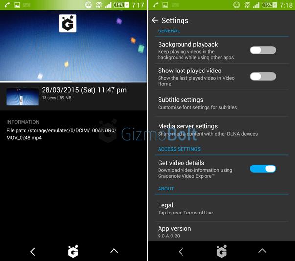 Videos 9.0.A.0.20 app Settings