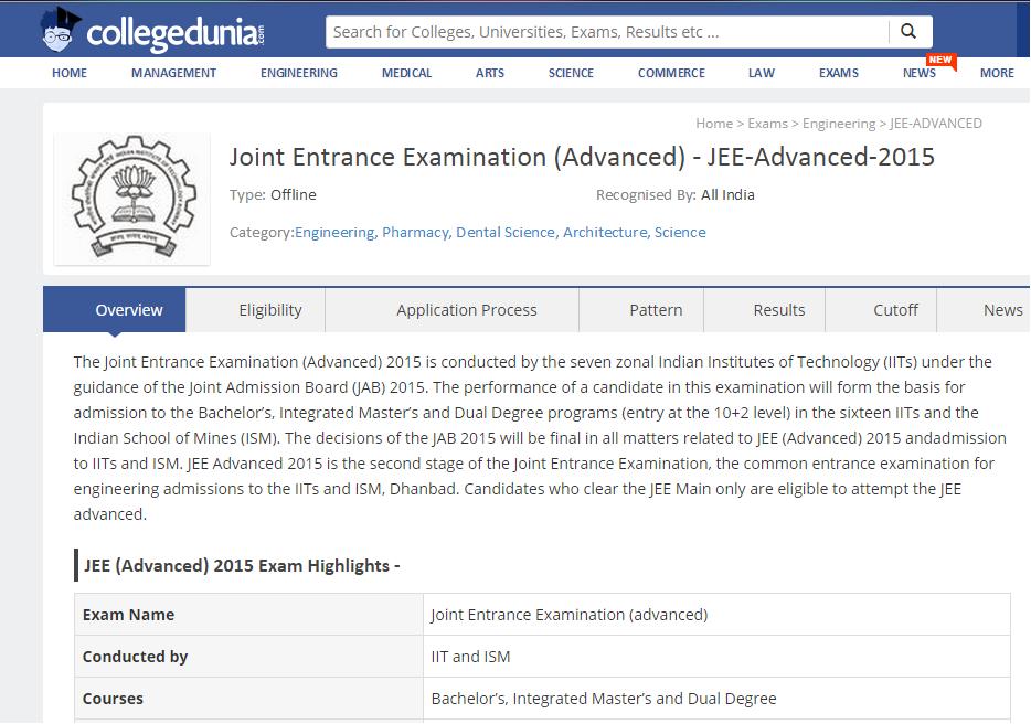 CollegeDunia JEE Exam details