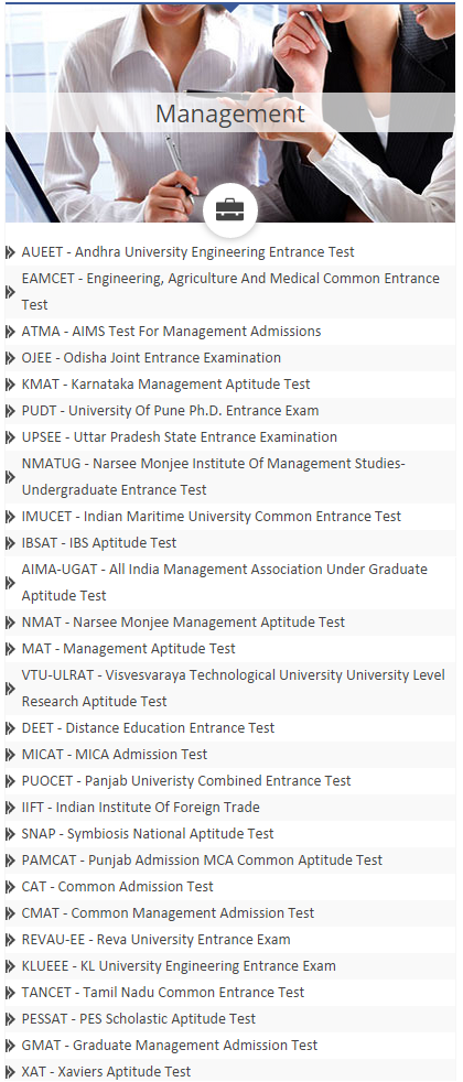 CollegeDunia MBA Exams search