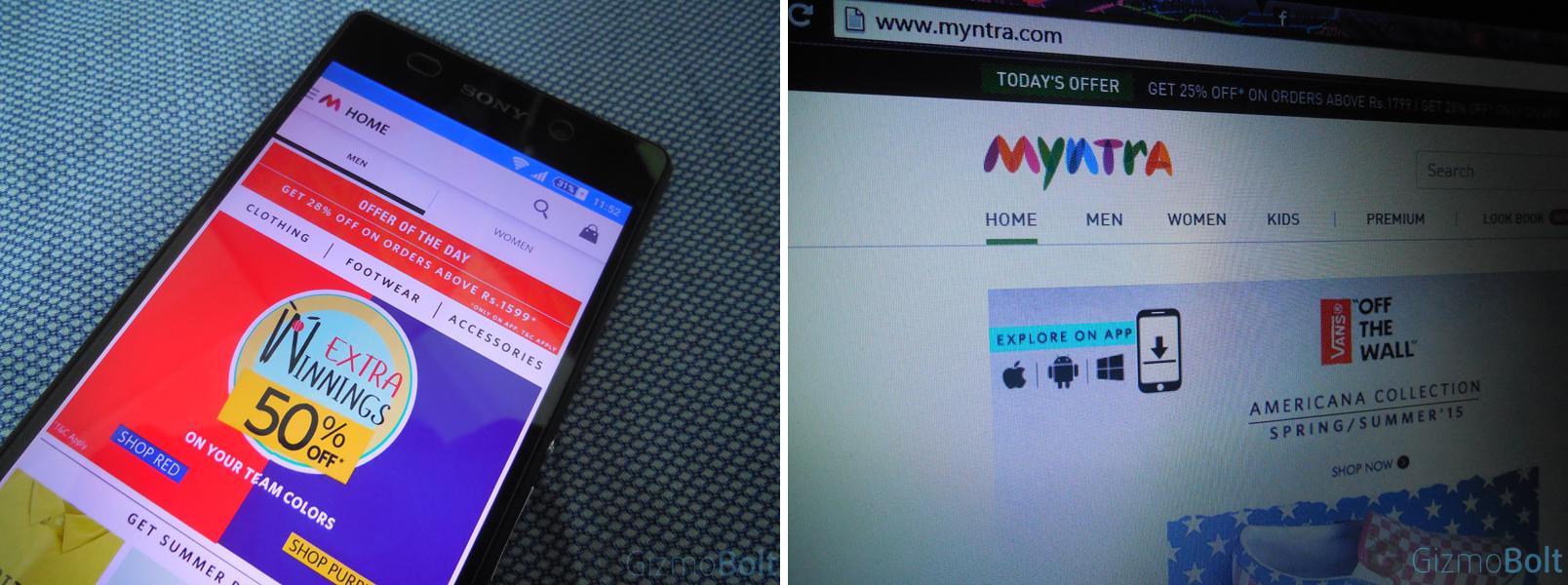 Myntra mobile based app-only platform