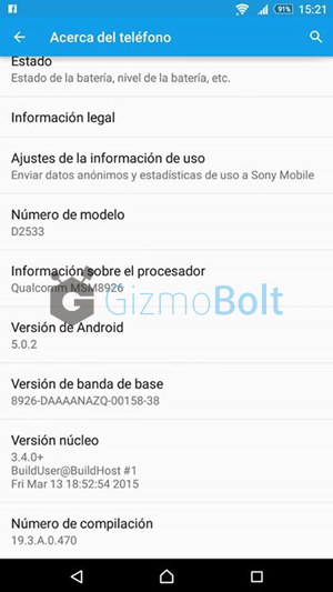 Xperia C3 Lollipop 19.3.A.0.470 about phone screenshot
