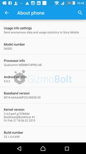 Xperia Z2 Lollipop update INDIA