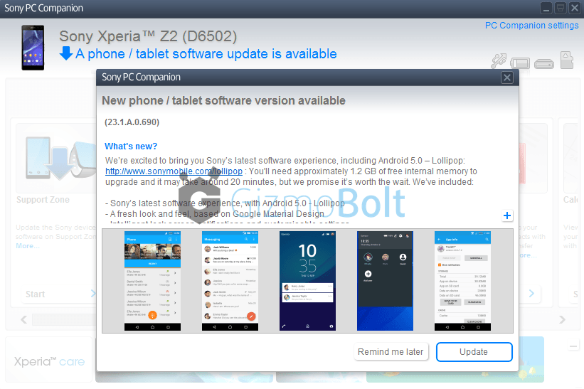 Xperia Z2 D6502 23.1.A.0.690 firmware update in India