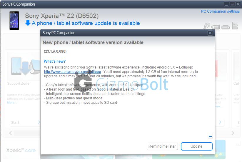 Xperia Z2 PC Companion 23.1.A.0.690 firmware update