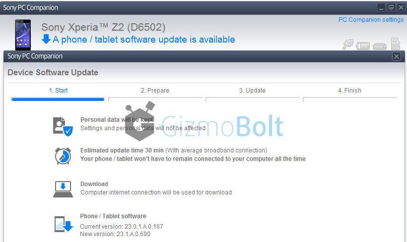 Xperia Z2 23.1.A.0.690 firmware India