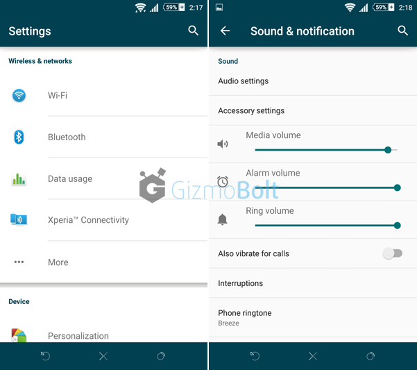 Xperia Lollipop Concentric Blue Theme with soft keys
