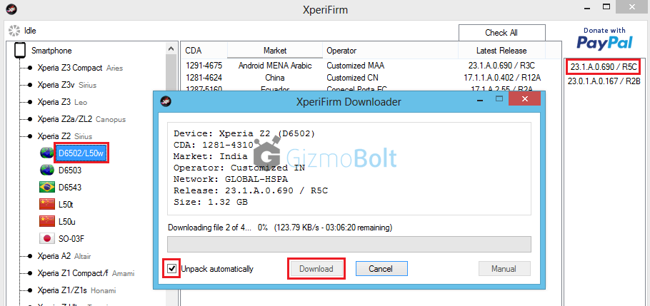 How to download firmware from XperiaFirm Tool