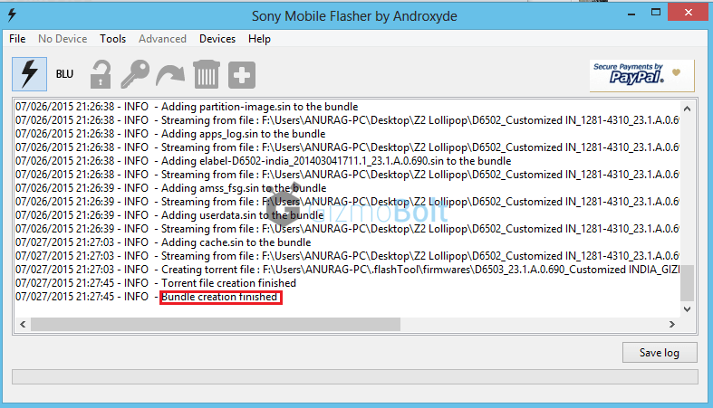 How to create Lollipop firmware Xpera Z2 ftf using Flashtool