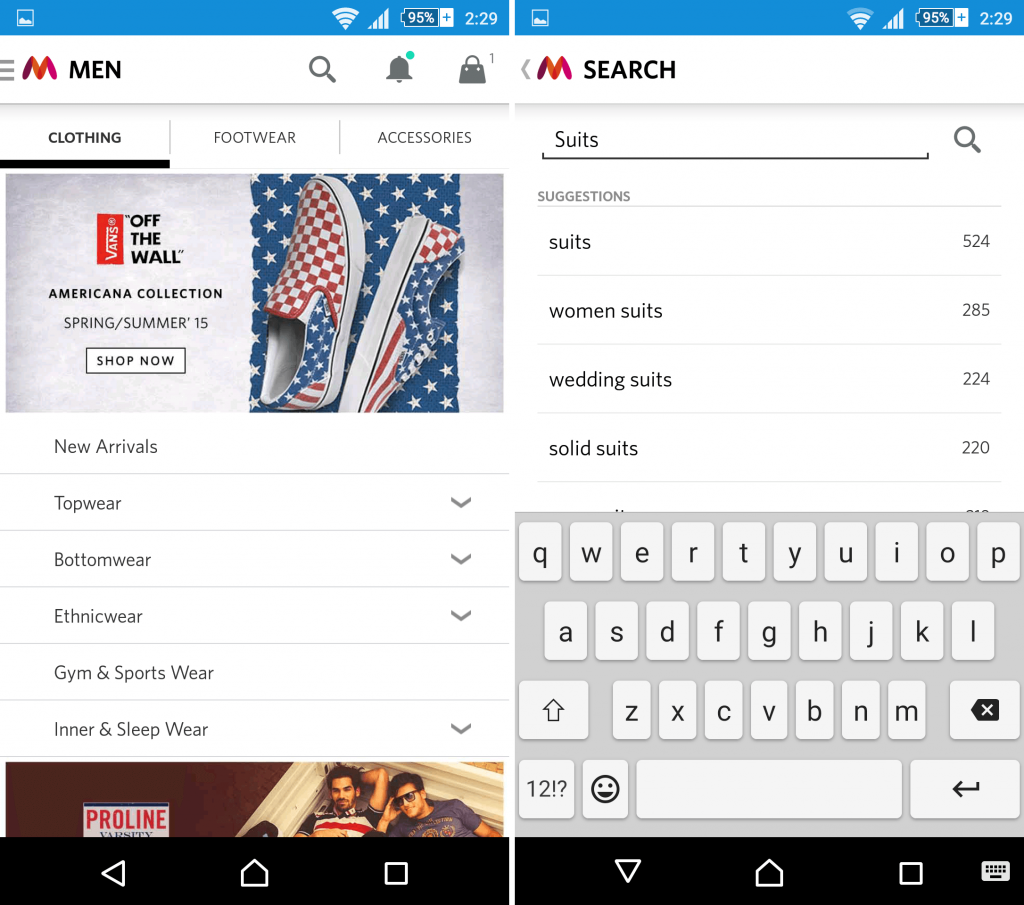 How to perform search in Myntra app