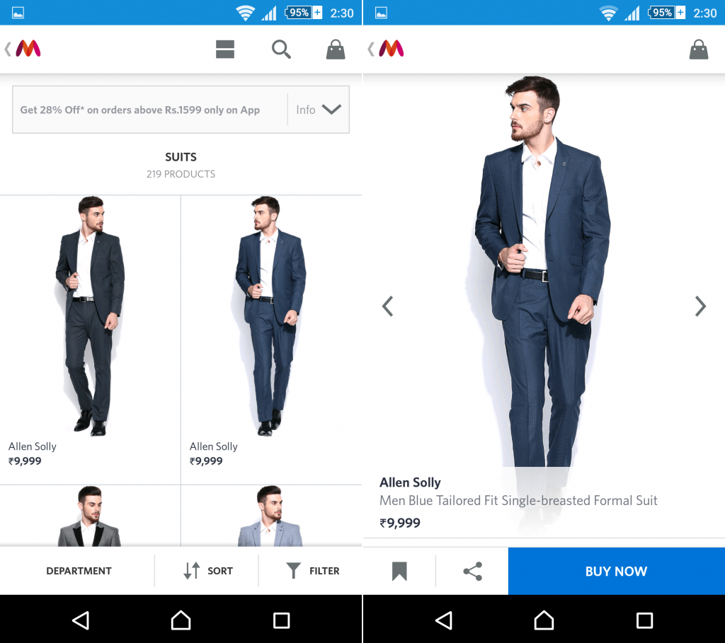 Choose your item from Myntra app