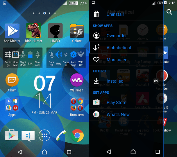 Xperia Lollipop Pattern Blue Theme
