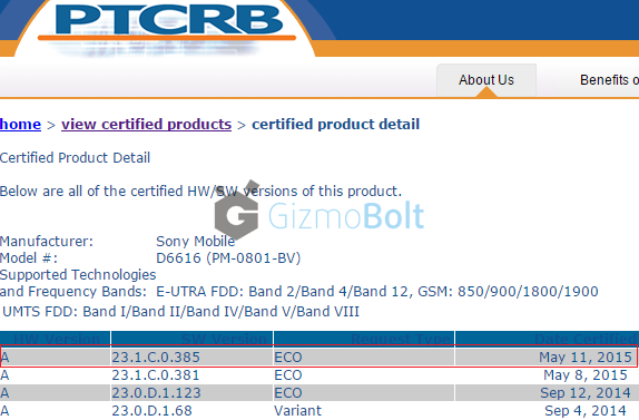 23.1.C.0.385 firmware certified for T-Mobile Xperia Z3