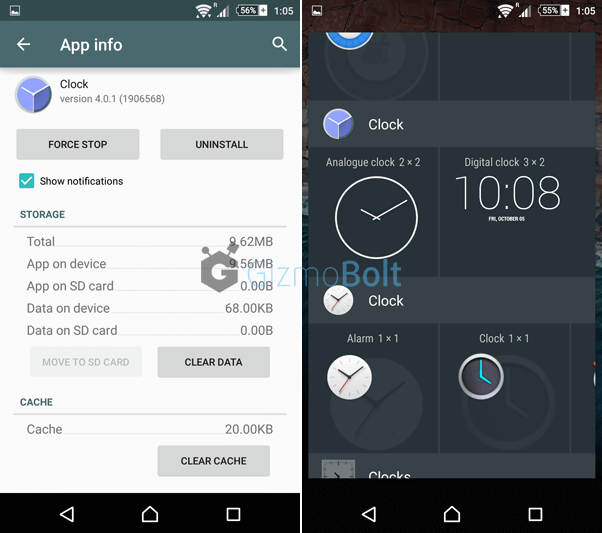 Android M Clock Version 401 Gizmo Bolt Exposing
