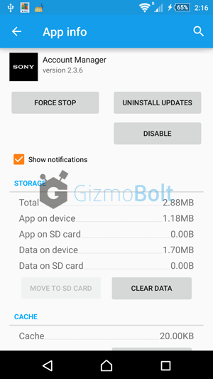 Sony Account Manager app version 2.3.6