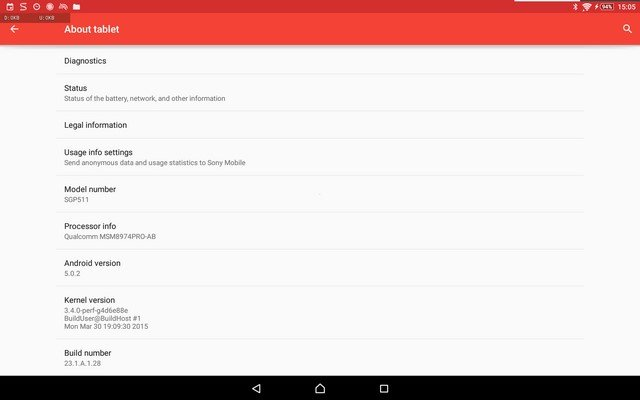 Xperia Z2 Tablet 23.1.A.1.28 firmware