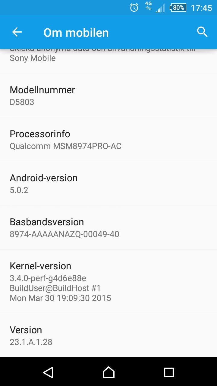 Xperia Z3 Compact 23.1.A.1.28 firmware