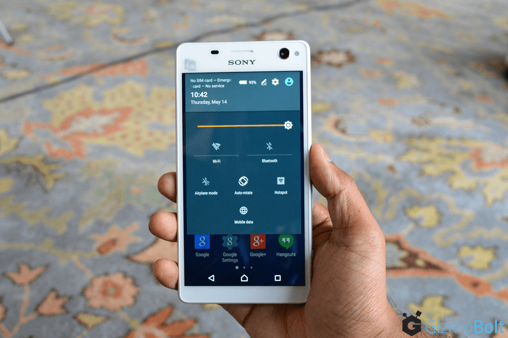 Xperia C4 Quick Settings Window - Lollipop Firmware