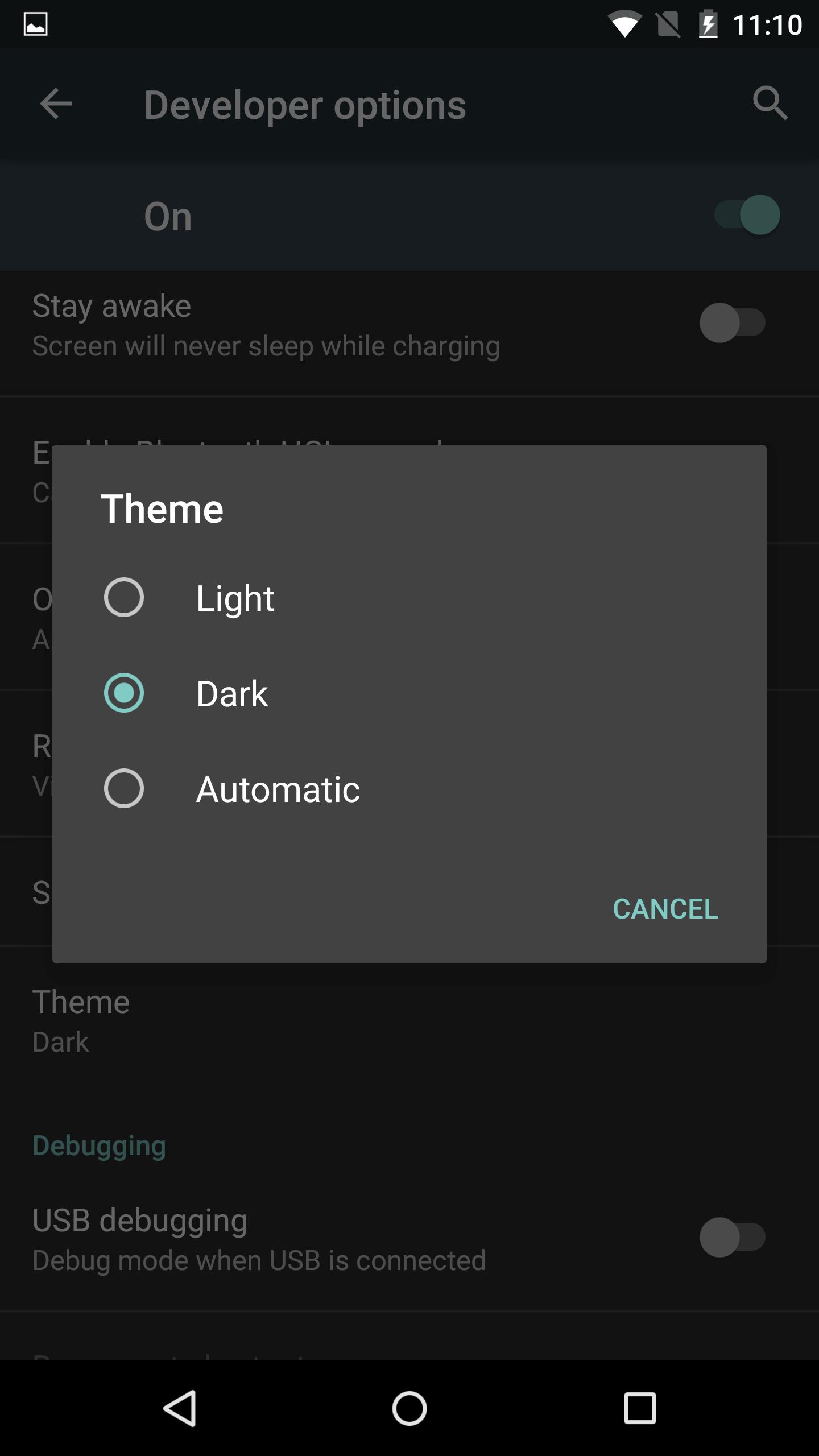 Android M Dark Theme System UI