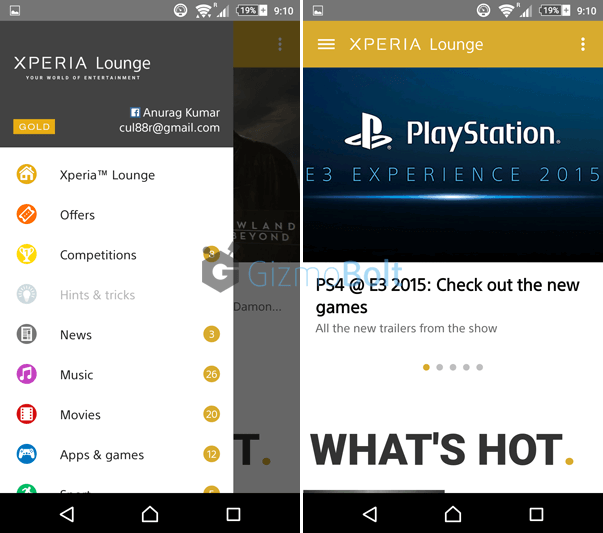 Sony Xperia Lounge 3.1.5  app
