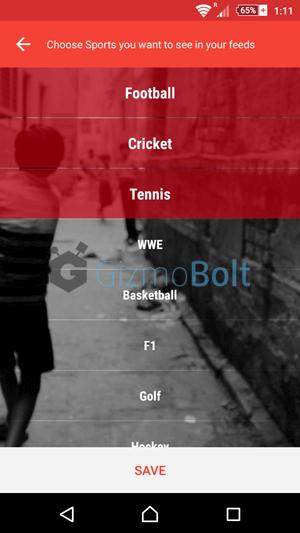 Sports Catalogue of Sportskeeda app