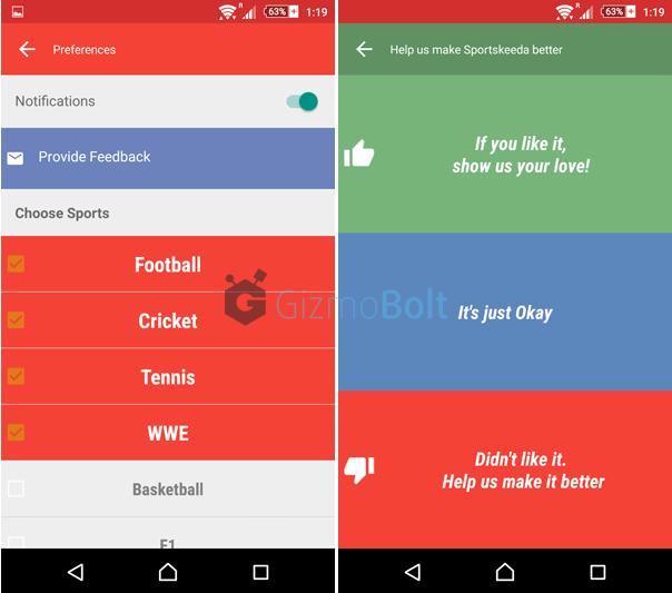 Sportskeeda App settings