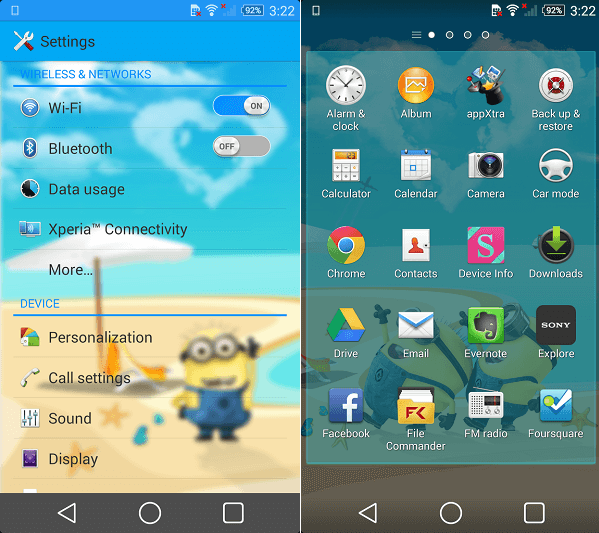 Download Xperia Minions Theme