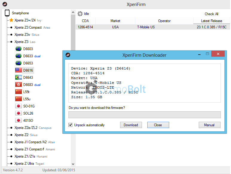 Xperia Z3 23.1.C.0.385 update via XperiFirm Tool