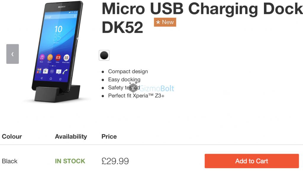 Xperia Z3+ DK52 Charging Dock