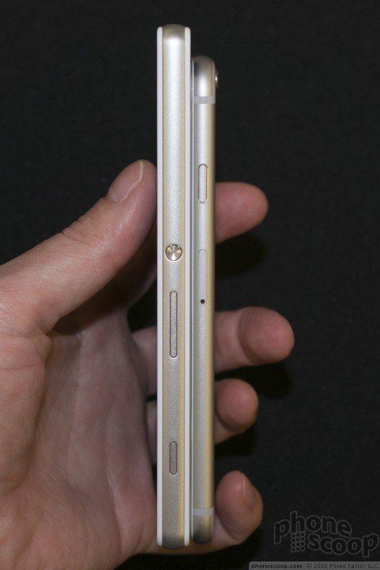 Xperia Z4v vs iPhone 6 Comparison pics