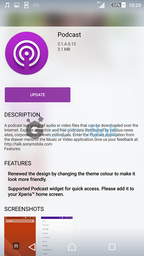 Sony Podcast app version 2.1.A.0.12