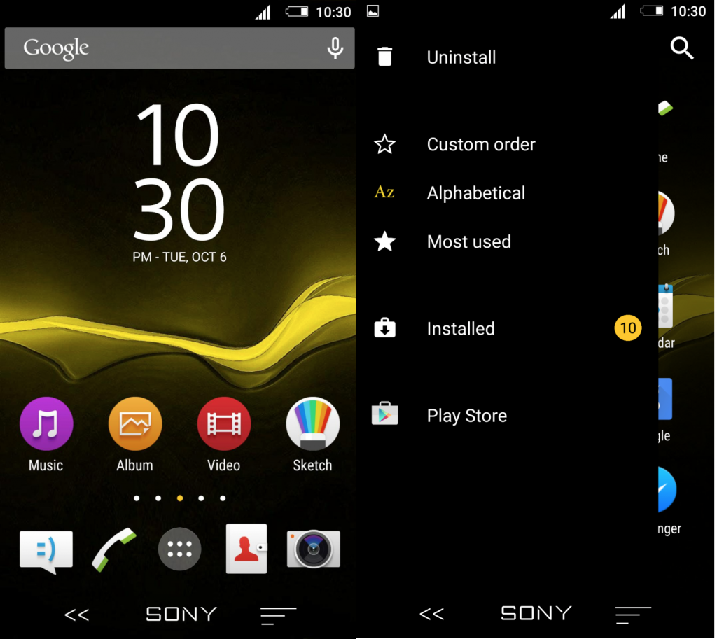 Xperia Blacksun Theme