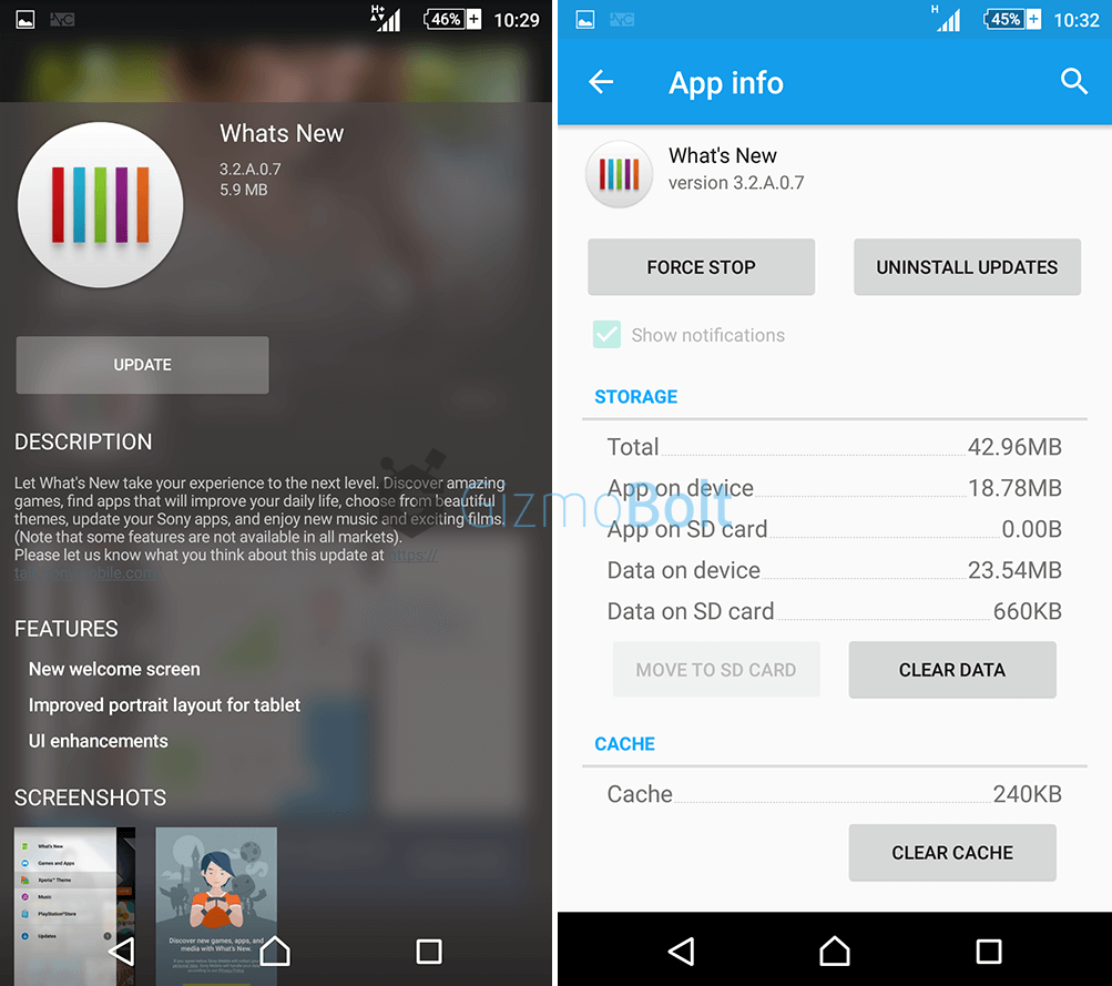 What's New app 3.2.A.0.7