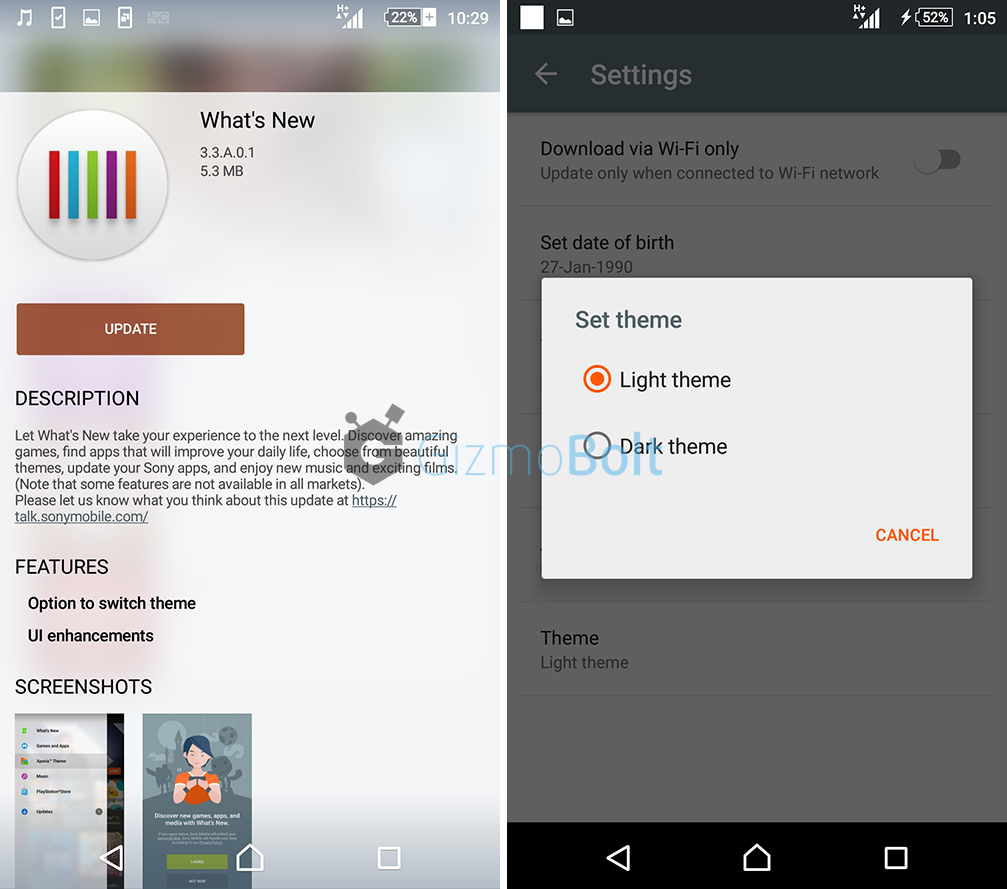 Sony What's New app 3.3.A.0.1