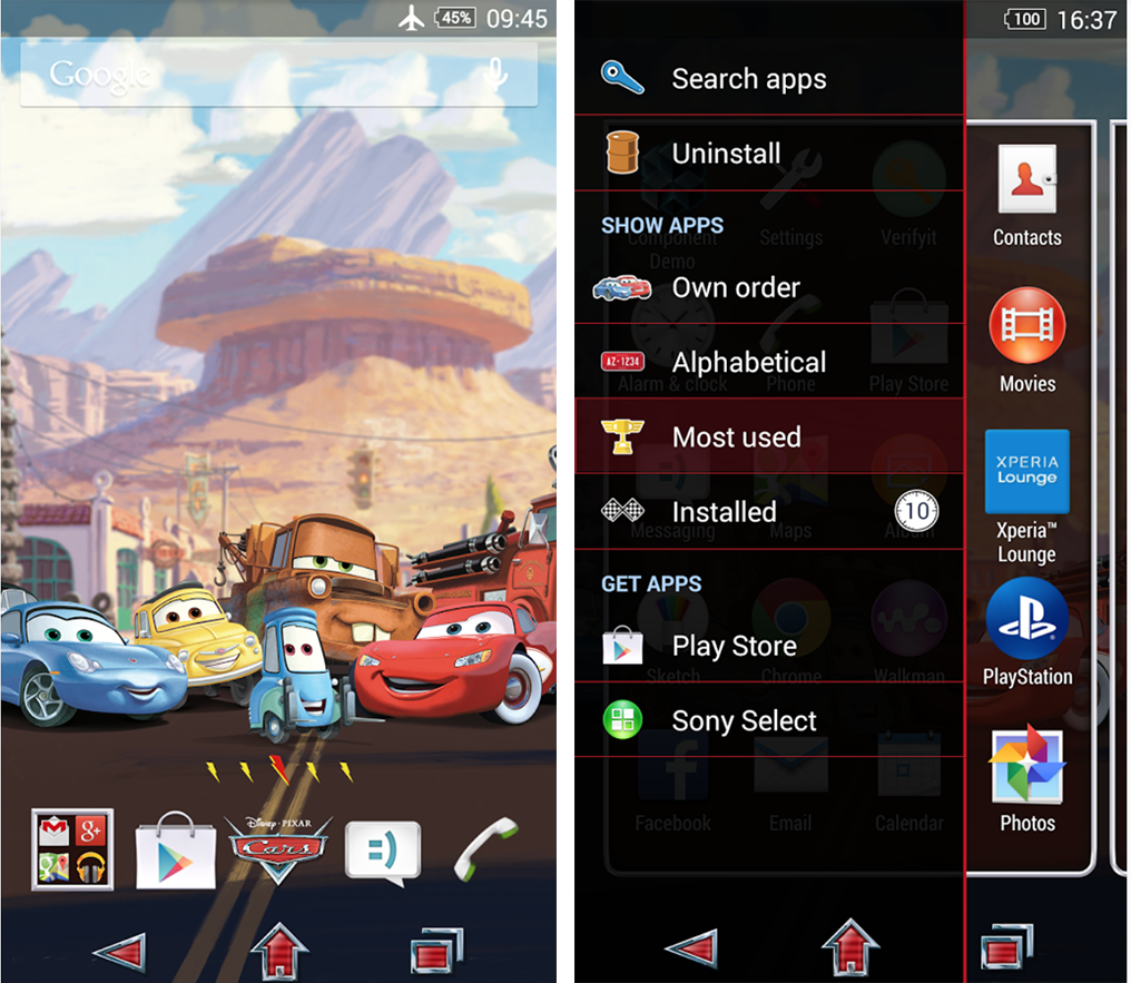 Xperia Cars Family Bundle theme