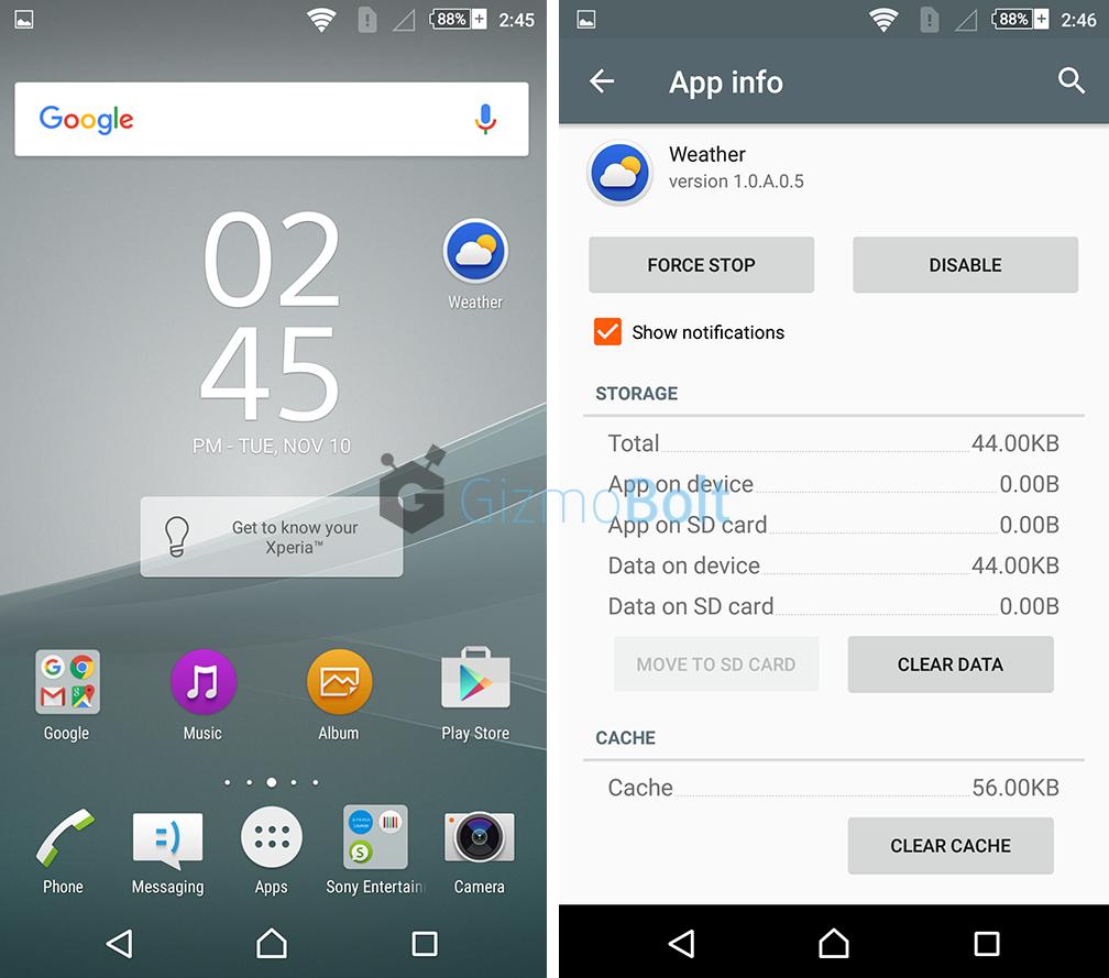Install Xperia Z5 Premium Weather App 1.0.A.0.5 version