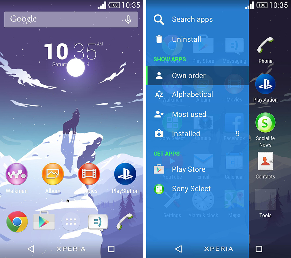 Xperia Wolf Blue Theme