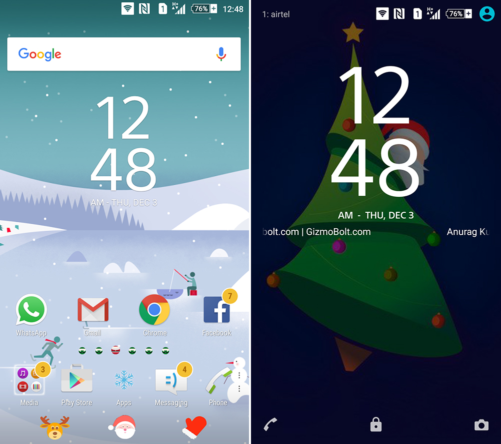 sony xperia christmas theme 2015 santa claus edition