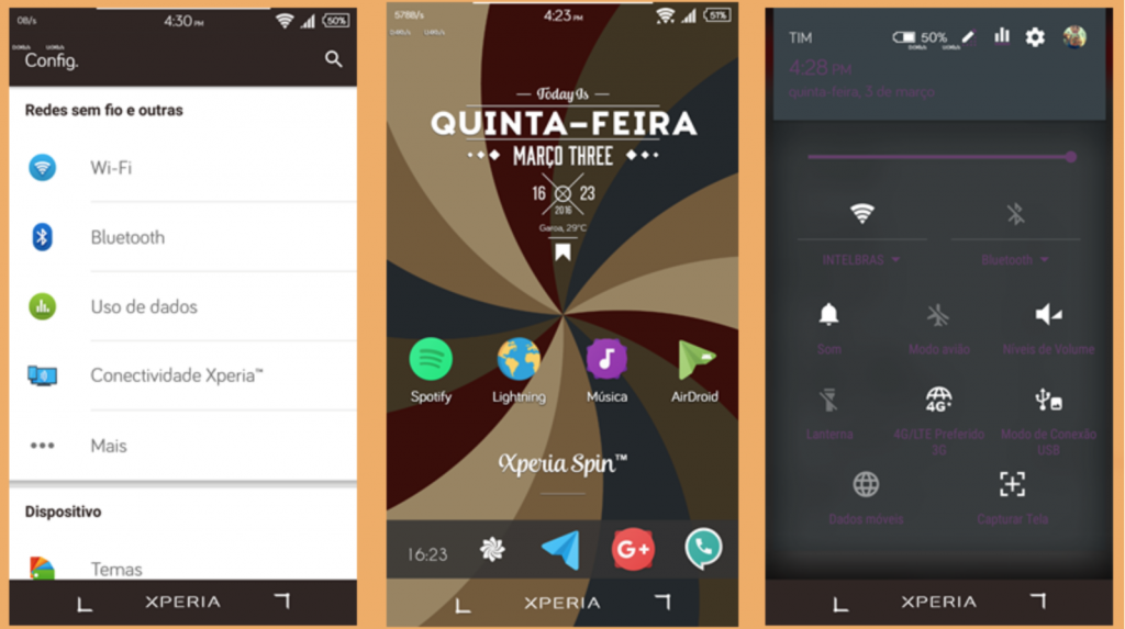 Material Design inspired Xperia themes - Reborn and Spin