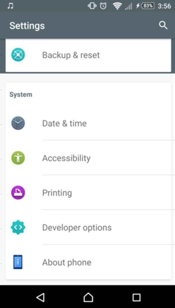 Xperia X Settings from Marshmallow