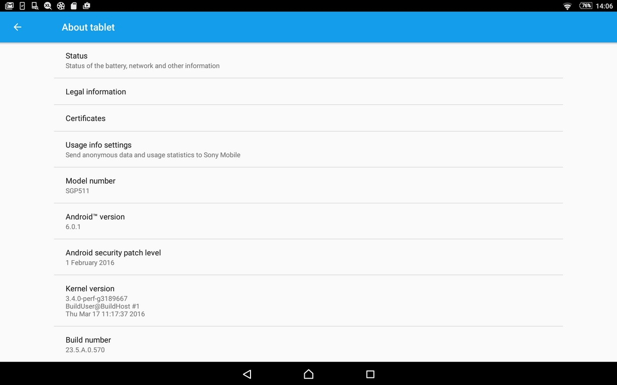 Xperia Z2 Tablet 23.5.A.0.570 firmware update